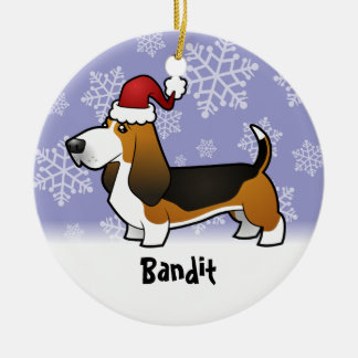 Christmas Basset Hound (add your pets name) Round Ceramic Decoration