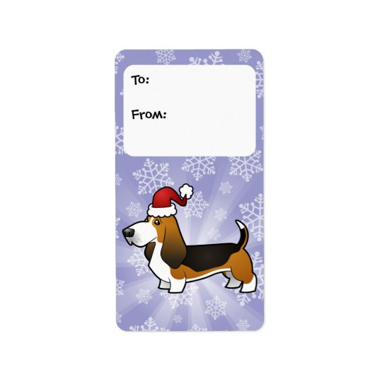 Christmas Basset Hound Gift Tags Address Label