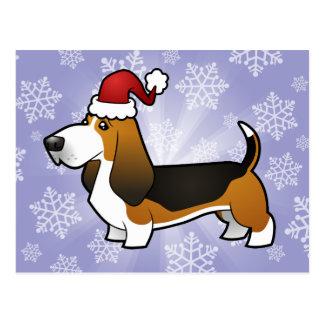 Christmas Basset Hound Postcard