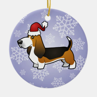 Christmas Basset Hound Round Ceramic Decoration