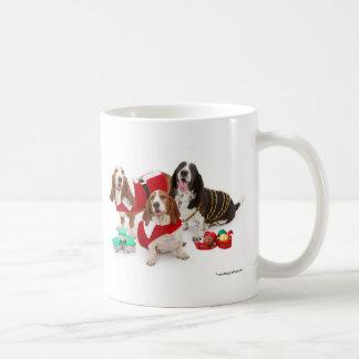 christmas bassets coffee mug