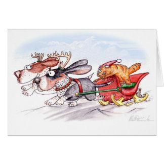 Christmas Bassets Greeting Card