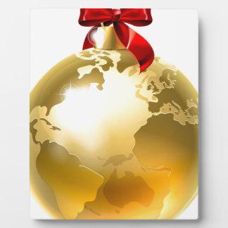Christmas Bauble Bow Globe World Earth Photo Plaque