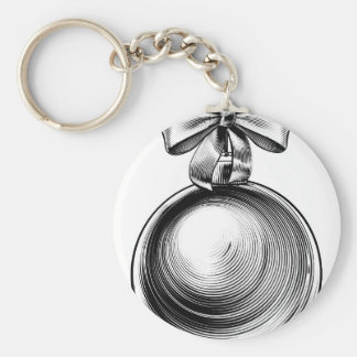 Christmas Bauble Bow Woodcut Engraved Etching Basic Round Button Key Ring
