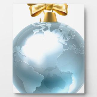 Christmas Bauble Globe World Earth Display Plaque