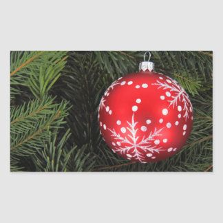 Christmas bauble rectangular sticker