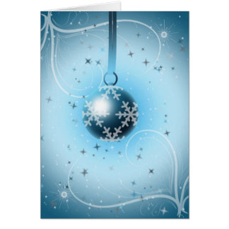 Christmas Bauble with stars and snow Greeting Card
