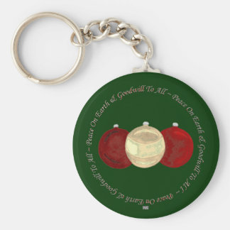 Christmas Baubles (gold/red) Keychain