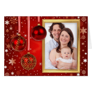 Christmas Baubles Photo Frame + your photo & ideas Greeting Card