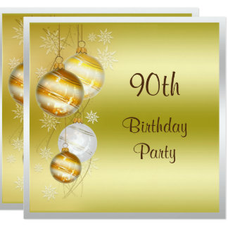 Christmas Baubles & Stars 90th Birthday Card