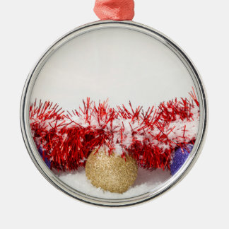 Christmas Baubles Tinsel and Snow Round Decoration Silver-Colored Round Decoration