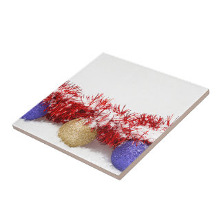 Christmas Baubles Tinsel and Snow Square Tile