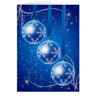 Christmas Baubles with stars and snow Card