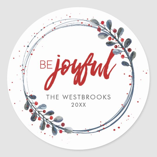 Christmas Be Joyful Classic Round Sticker