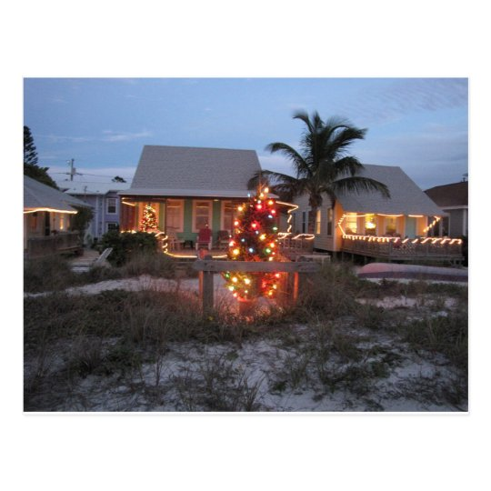 Christmas Beach Cottage Postcard