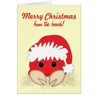 Christmas Beach Crab Customizable Christmas Card