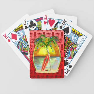 Christmas Beach Sunset Bicycle Playing Cards