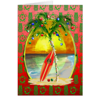Christmas Beach Sunset Greeting Card