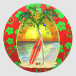 Christmas Beach Sunset Round Sticker
