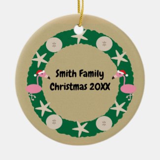 Christmas Beach Wreath Sand Dollar Personalize Christmas Ornament