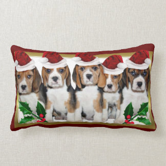 Christmas Beagle  puppies lumbar pillow
