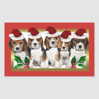 Christmas Beagle puppies rectangle stickers