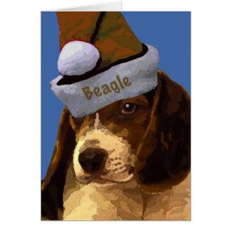 Christmas Beagle Puppy Greeting Card