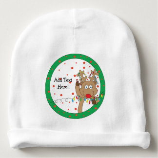 Christmas Beanie Reindeer Personalize Baby Beanie