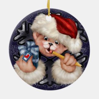 Christmas Bear 2 Circle Ornament