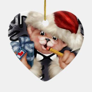 Christmas Bear 2 Premium Heart Ornament