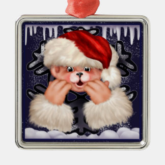 Christmas Bear 4 Premium Square Ornament