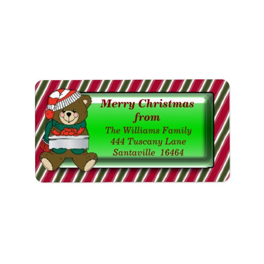 Christmas Bear Address Label