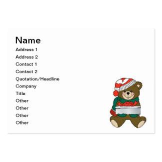 Christmas bear cartoon business cards