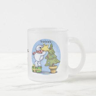Christmas Bear full of Cheer Frosted Glass Mug