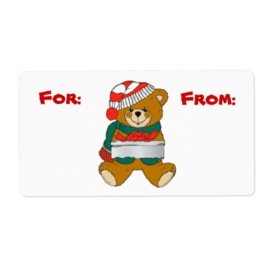 Christmas Bear Gift Tag Label Shipping Label