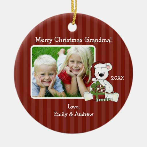 Christmas Bear Grandma Photo Personalised Round Ceramic Decoration