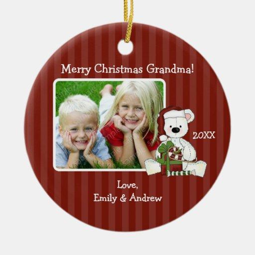 Christmas Bear Grandma Photo Personalized Christmas Tree Ornaments