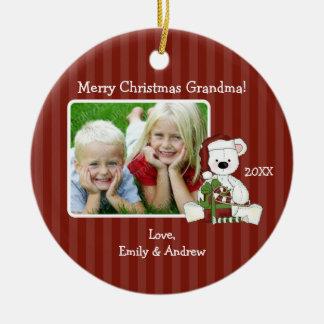 Christmas Bear Grandma Photo Personalized Round Ceramic Decoration
