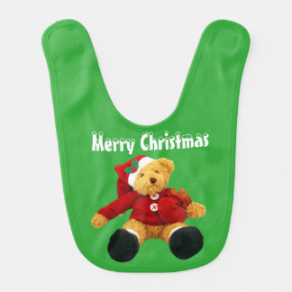 Christmas Bear Holiday baby bib