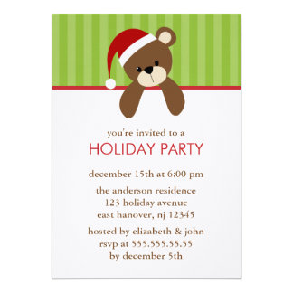 Christmas Bear Invitations