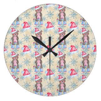 Christmas Bear Pattern Large Clock