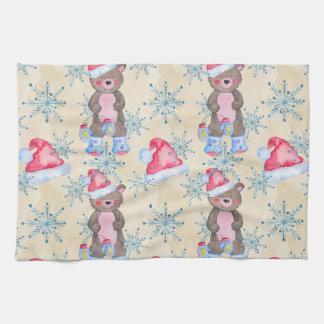 Christmas Bear Pattern Tea Towel