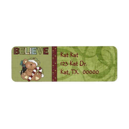 Christmas Bear Return Address Avery Label