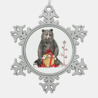 Christmas Bear Snowflake Pewter Christmas Ornament