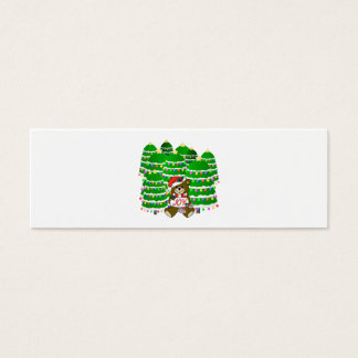 Christmas Bear with JOY Sign and ChristmasTrees Mini Business Card