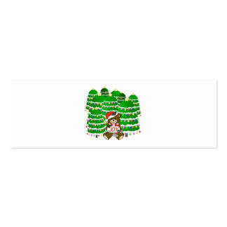 Christmas Bear with JOY Sign and ChristmasTrees Pack Of Skinny Business Cards