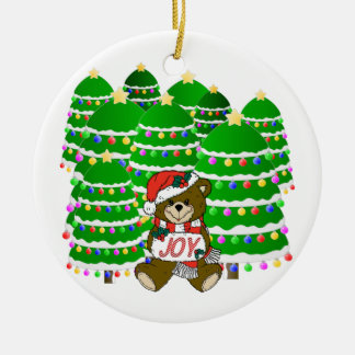 Christmas Bear with JOY Sign and ChristmasTrees Round Ceramic Decoration