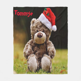 Christmas Bear With Monagram Fleece Blanket