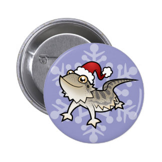 Christmas Bearded Dragon / Rankins Dragon 6 Cm Round Badge