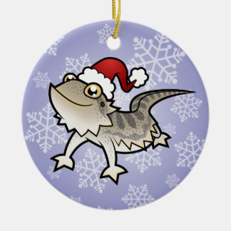 Christmas Bearded Dragon / Rankins Dragon Round Ceramic Decoration